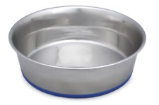 Pet Dog Cat Puppy Kitten Food Water Bowl Dish Feed 3 Qt Stainless Silicon Base