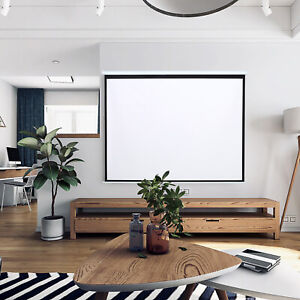 60-100 Inch Wall Mounted Manual Screen Pull Down Projector Screen Home Movie