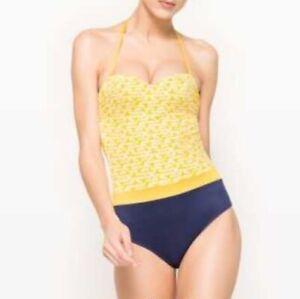 R Edition La Redoute Swimsuit Monokini Size 10 In Yellow Black
