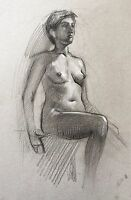 ORIGINAL DRAWING FEMALE NUDE Contemporary Realism Charcoal Soviet Art fine art
