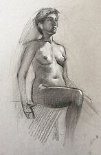 ORIGINAL DRAWING FEMALE NUDE Contemporary Realism Charcoal Russian Art