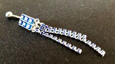 Rectangular Blue Diamond Belly Button Ring - 925 Sterling Silver - New!