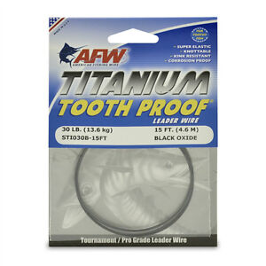 AFW TOOTH PROOF TITANIUM LEADER Single Strand Wire 30LB Test  NEW!  STI030B-15FT