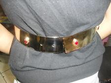 cintura METALLO BAGNO ORO strass rossi schiava  alta 4,5 cm ANCHE SU MISURA