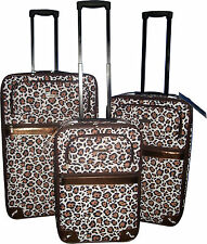 "WOMENS GIRLS FASHION LEOPARD ANIMAL PRINT LUGGAGE SUITCASES 3 SIZES 19"" 23"" 27"""