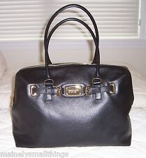 NWT Michael Kors HAMILTON Weekender Bag Leather BLACK Gold Tone HW