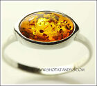 EXQUISITE AUTHENTIC BALTIC AMBER 925 STERLING SILVER RING SIZE 6