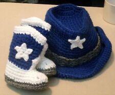Custom Handmade Crochet Dallas Cowboys Colors Star Cowboy Booties & Hat Set
