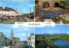 AK Irland Clifden vier Ansichten Market St Main St. Waterfall Twelve Pins A_365