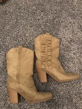 Kensie Girl Boots Shoes Taupe Khaki Light Brown Faux Suede Mid-calf Size 8.5