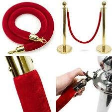 """4.5 Foot Red Velvet Rope - 1.5"""" Thick Crowd Control Rope Barrier With Polished M"""