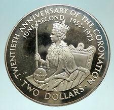 1973 COOK ISLANDS ELIZABETH II Coronation Proof Silver 2 Dollars Coin i76040