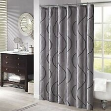 Madison Park SHOWER CURTAIN Taffeta Embroidered  Charcoal Gray NEW