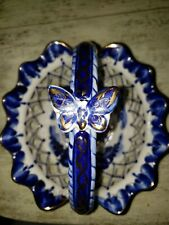 Hand Painted Gzhel Basket Butterfly On Handle Gold trimmed & signed Ab. Poroa