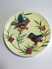 VINTAGE JAPAN CERAMIC WALL PLAQUE PLATE, 3D RAISED BLUEBIRDS Flowers 8.25""