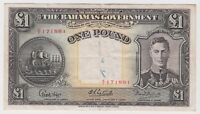 British Bahamas 1 Pound 1936 P11e VF King George Banknote Bargain - Graffiti