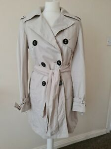 Women's River Island Double-Breasted Mac Trench Coat beige size 10