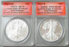 2015 (W) W AMERICAN SILVER EAGLE 2 COIN SET ANACS 70 FIRST RELEASE