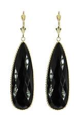 14k Oro Amarillo Pendientes con piedra preciosa Grandes Forma Pera Ónice Negro