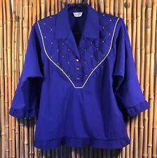Vintage Regal Purple Pullover Blouse Top Shirt Women's Shoulder pads