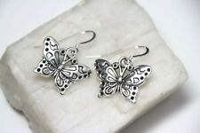 Butterfly Charm Earrings .925 Sterling Silver hooks, pewter charms 1 1/4