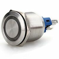 5A Drucktaster mit LED-Ring Taster Druckschalter 22mm Edelstahl Klingeltaster GY