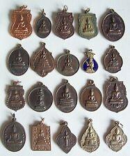 20 THAI BUDDHIST Buddha Buddhism Lucky Charms PENDANTS Brass Medals Thai Amulet