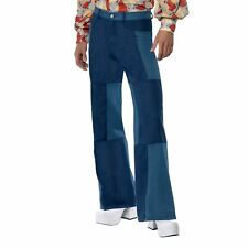 70s Disco Patchwork Denim LOOK Flares Trousers Adults Mens Fancy Dress Costume Medium