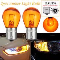 2x 1156 PY21W BAU15S Filament Car Motorcycle Vehicle Indicator Amber Light Bulb
