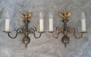 Pair 1960's Solid Brass Gothic Wall Lights - Ornate with Eagle, Poppy Motif