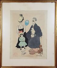 FAMILY. DRAWING INK AND WATERCOLOR. SIGNED JUNCEDA. CIRCA 1930.
