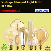 60W Vintage Retro Filament Light Bulbs  Industrial Style Lights Edison E27/ B22