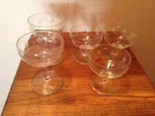 5 Vintage Standard Glass  Criss Cross Design Short & Tall Champagne Sherberts