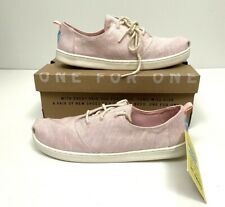 Toms Youth Girls Pink Blossom Slub Lace Up Casual Shoe Lumin 5.5 New Chambray