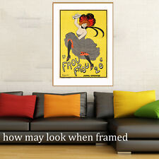 """Vintage art poster Le frou frou lady painting France yellow for glass frame 36"""""""