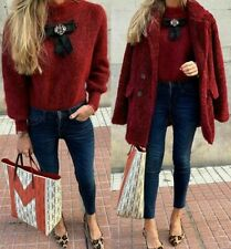 ZARA BURGUNDY MOHAIR WOOL KNITTED SWEATER WITH EMBELLISHED JEWEL GEM BOW JUMPER