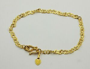 24K Lady's Solid Yellow Gold Heart Link Bracelet 3.7 grams 7""