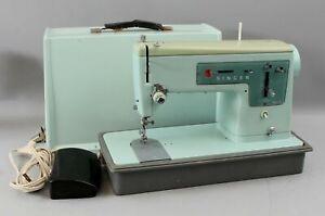 1966 vintage SINGER Sewing Machine Robins Egg Blue Model 337 w/ Hard Case, NR