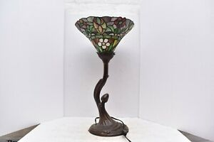 """Tiffany Style Table Lamp Tulip Torchiere Stained Glass 22"""" tall Art Nouveau"""