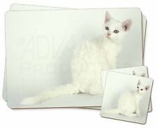 White American Wire Hair Cat Twin 2x Placemats+2x Coasters Set in Gift , AC-86PC