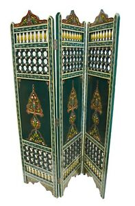 Moroccan Room divider privacy folding Screen Room Separator Hand painted Green
