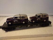NIB RAILKING MTH CLUB CLASSIC AUTO TRANSPORT W/ (2) 1951 CHEVROLET PANEL VANS
