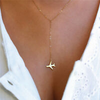 1pcs Women Gold Silver Airplane Pendant Fashion Layered Chain Necklaces