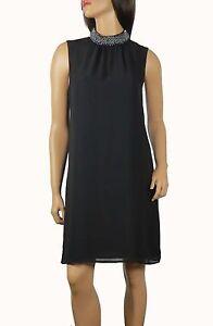 New Ladies Black Fully Hand Embellished Neck Chiffon Shift Dress Sizes 8 to 18