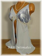 Gorgeous Steel Blue Satin and Chiffon Open Front Babydoll, Size Medium