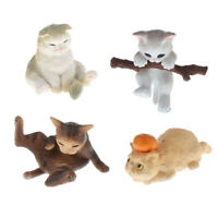 4Pcs 1/12 Dollhouse Résine Mini Animal Pet Cat Room Desktop Jouets décoratifs