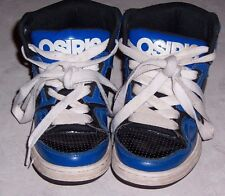 OSIRIS Blue and Black Patent Leather Skateboarding Shoes Boys High Top Size 13