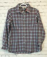 LL Beans Womens Shirt Size Small Gray Pink Plaid Long Sleeve Roll Tab Button Up
