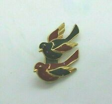 Red Enamel Birds Brooch Gold Tone Black and