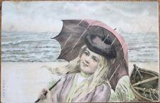 Woman/Umbrella/Rain, Seashore, Boat 1904 Color Litho Postcard